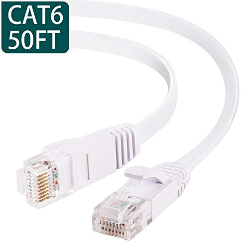 50 ft Ethernet Cable Cat6 Network Cable for PS4/Xbox,Flat Internet Cord with Clips&RJ45 Snagless Connector,High Speed faster than Cat5e Cat5 Computer Lan Wire for Network Switch,Coupler,Modem (Ethernet Network Lan Cable)
