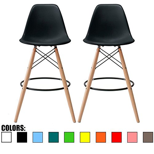 2xhome Set of 2 28 Seat Height Black Mid Century Modern Plastic Side Armless No Arms DSW Molded Shell Bar Stool Stools with Back Counter Height High Chairs Counter Wooden Wood Eiffel Kitchen