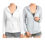 Sofra Women's Thin Cotton Zip up Hoodie Jacket (LRG,h.Grey/White)