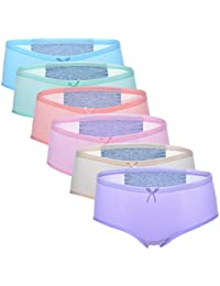 6 Pack Girls Women's Underwear Cotton Leakproof Menstrual Period Briefs Panties