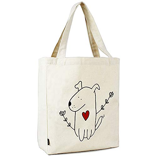 HUTU Canvas Tote Bag with Inner Pocket Casual Weekend Overnight Foldaway Shopping Shoulder Tote Bag (Cute Dog)