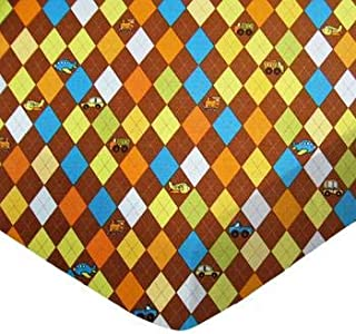 product image for SheetWorld Crib Sheet Set - Argyle Brown Transport - Made In USA