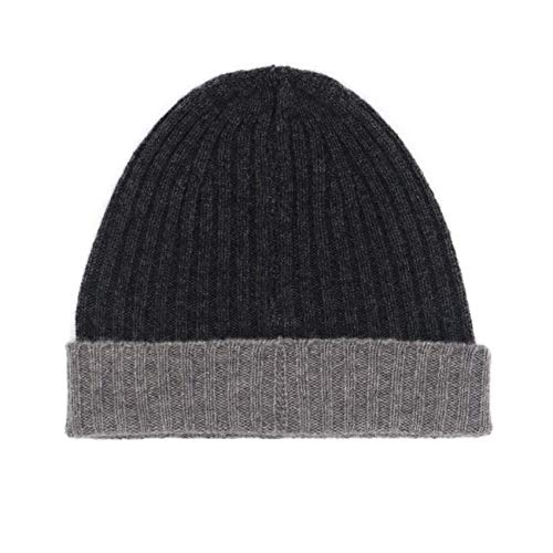 State Cashmere Unisex Contrast Brim Knitted Beanie 100% Cashmere Fold-Over Cuff Fisher Man Wide Rib Winter Hat Charcoal