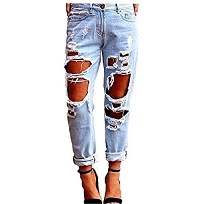 Womens Destroyed Hole Skinny Faded Ripped Casual Loose Denim Cotton Ninth Jeans