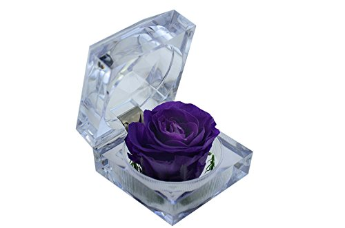 DeFancy Handmade Preserved Flower Rose with Acrylic Crystal Ring Box for Proposal Engagement (Purple)