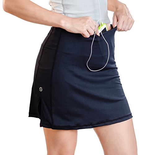 Skort, Tennis Skirts for Women, Athletic Skirt with Pockets, Black Workout Skort with Pockets, Tummy Control (Skort Fitness Skirts)
