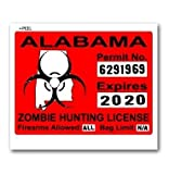 Alabama AL Zombie Hunting License Permit Red - Biohazard Response Team - Window Bumper Locker Sticker