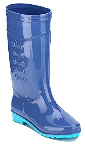 Ein bißchen Damen Langschaft schöne Arbeits-Gummistiefel Graublau