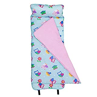 Wildkin Original Nap Mat with Pillow for Toddler Boys and Girls, Ideal for Daycare and Preschool, Measures 50 x 1.5 x 20 Inches, Mom's Choice Award Winner, BPA-Free, Olive Kids (Birdie)