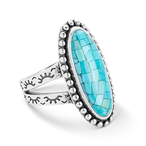 (American West Sterling Silver Turquoise Mosaic Split Shank Ring Size 6)