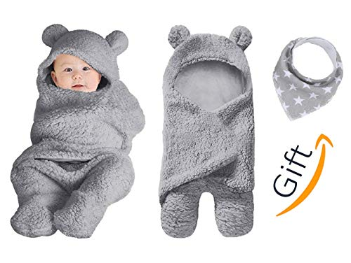 - Premium Baby Swaddle Cover Hooded Blanket for Newborn Babies Soft & Cute Multi-Functional for Receiving Sleeping & Wrapping Boy & Girl Unisex Kiddytopia Brand with Baby bib Gift (Grey)