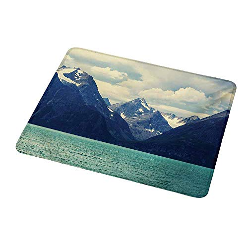 Custom Mouse Pad Gaming Mat Mountain,Northern Norway Atlantic Coastline Fishing Harbor Snowy Nature,Dark Blue Almond Green White,Custom Design Gaming Mouse Pad 9.8