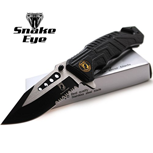 (Snake Eye Tactical P.O.W Rescue Style Action Assist Folding Knife 4.5