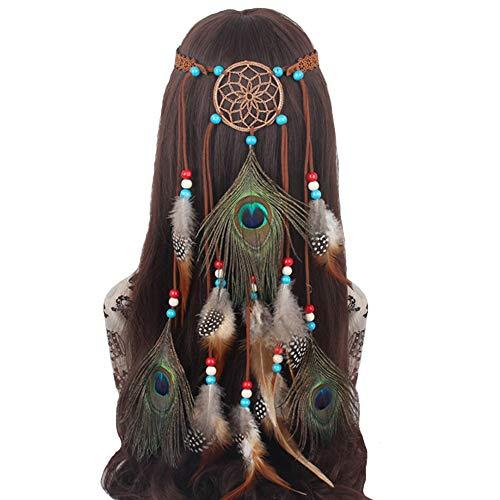 Feather Headband Hippie Indian Boho Hair Band Tassel Bohemian Halloween Hair Hoop Women Girl Crown Hairband Party Decoration Headdress Cosplay Costume Headwear Headpiece Hair Accessories Dreamcatcher