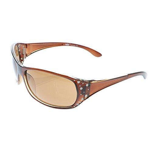 Vox Women's Sunglasses Designer Sport Fashion Rhinestones Eyewear Free Microfiber Pouch-Frame Brown with Brown Lens