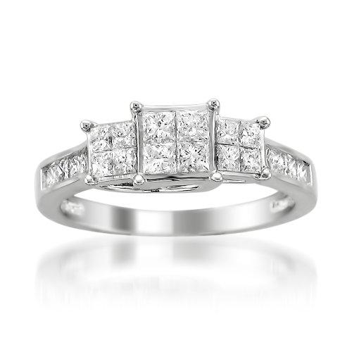 14k White Gold Princess-Cut Diamond Engagement Ring (1ctt...