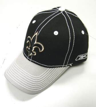 New Orleans Saints Reebok Stitched Adjustable Hat Cap - Black/Gray