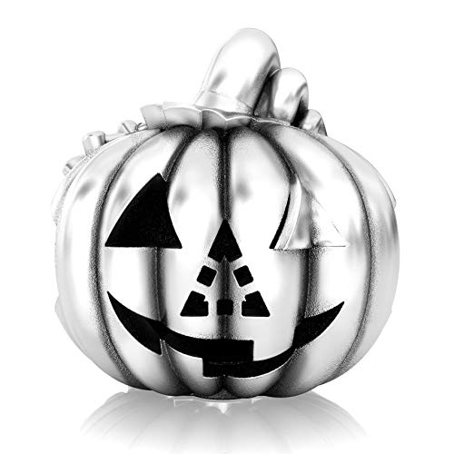 Authentic BELLA FASCINI Halloween Pumpkin Carving Traditional Jack-O-Lantern Charm Bead - Sterling -
