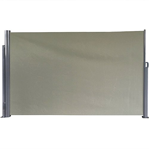 Sunnydaze Patio Retractable Privacy Wall, Outdoor Folding Screen Divider with Steel Support Pole 10 x 6 Feet, Grey