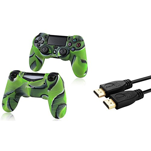 Insten Camouflage Navy Green Silicone Skin Case With Free 10Ft High Speed Hdmi Cable With Ethernet M M Compatible With Sony Playstation 4  Ps4  Controller
