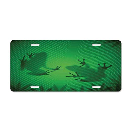 - Animal Decor Frog Shadow Silhouette on The Banana Tree Leaf in Tropical Lands Jungle Light Games Graphic Customized Aluminum Metal License Plate Cover Vanity Car Tag 6 X 12