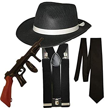Gangster Fancy Dress 4 Pieza Disfraz (Negro)  Amazon.es  Juguetes y juegos 5dfe96e12e7f