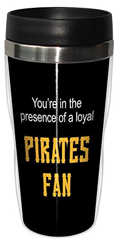 Tree-Free Greetings sg24098 Pirates Baseball Fan Sip 'N Go Stainless Steel Lined Travel Tumbler, 16-Ounce (Cup Pittsburgh Pirates)