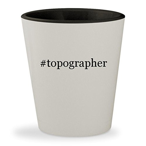 Price comparison product image topographer - Hashtag White Outer & Black Inner Ceramic 1.5oz Shot Glass