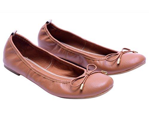 Vidaleather Dagelijks Vrouwen Ballerina Colombiaanse Leer Flats   Zapatillas De Mujer Bruin