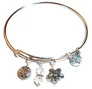 Charm (Butterfly, Flower and More) Expandable Wire Bangle Bracelet, in the popular style, COMES IN A GIFT BOX! (Flower)