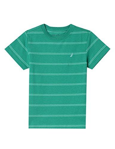 Nautica Boys' Big Short Sleeve Striped Crew-Neck T-Shirt, Hudson Golf Green, Large (14/16)