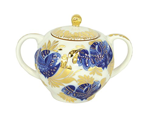 Lomonosov Imperial Porcelain Golden Garden Drinkware Teaware Cups Collection (Sugar Bowl)