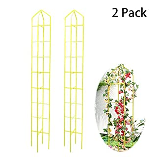 hourflik Plant Cages and Supports, Tomato Cages and Stakes Cucumbers Trellis for Climbing Plants Garden Vegetables, Fruits, Flowers, Vine (2 Pack) (Yellow)