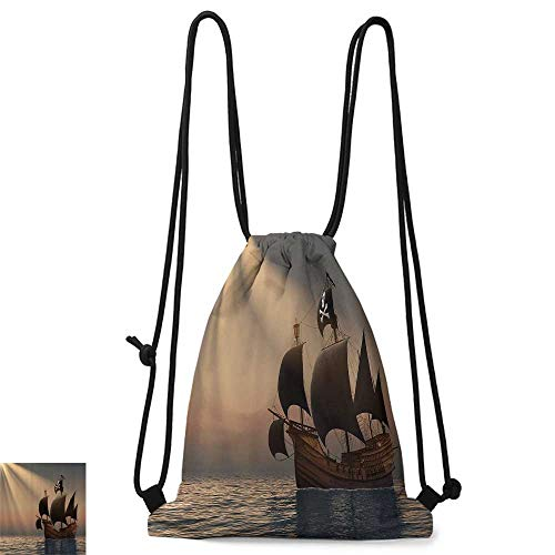 Custom backpack Pirate Ship with Black Flags Floating on Ocean in Rays of Sun Caravel Watercraft Nautical W14