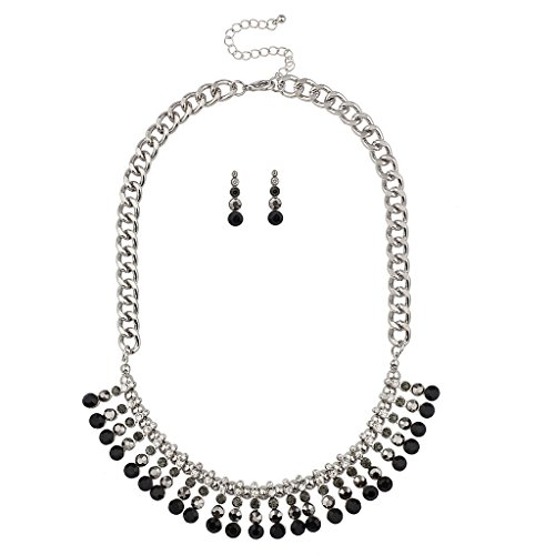 - Lux Accessories Pave Crystal Multi Color Black Stone Statement Bib Necklace Matching Earrings