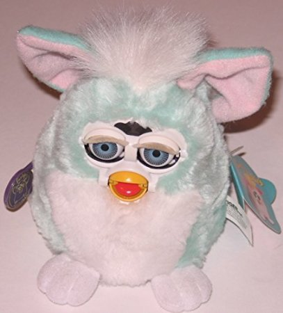 Furby Babies Green Fur with White Tummy, Pink Ears and Blue Eyes