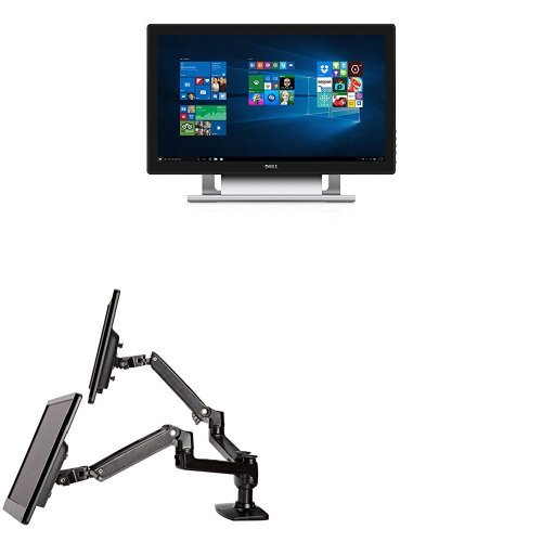 Two Dell 21.5-Inch Touch Screen Monitors Bundled with AmazonBasics Dual Side-by-Side Mounting Arm