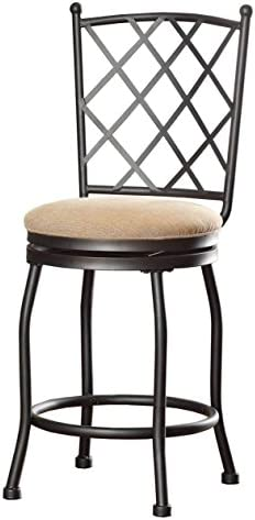 HomePop Tristan Swivel Counter Height Stool, Tan