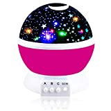 Girls Toys Age 2-10, DIMY Night Light Moon Star Rotating for Kids Babies Toys for 2-10 Year Old Girls 2-10 Year Old Girl Gifts Christmas Pink DMUSXK3