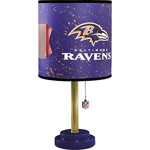 MISC NFL Baltimore Raven Table Lamp Large, 18 Inch Desk Lamp with Shade Sports Pattern Cute Football Themed Nightstand Lamp Team Logo for Fan Team Spirit Purple, MDF - Light Baltimore Ravens Night