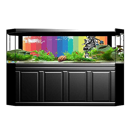 Football Runner Tigers (UHOO2018 3D Aquarium Background Female Marathon Runner Illustration On Vertical Stripes in Rainbow Color Orange Purple Blu Fish Tank Wall Decorations Sticker 35.4