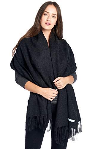 Mariyaab 100% Lambswool wool Women Solid Oversized Large Pashmina Scarf Stole Shawl (915477,Excalibur)