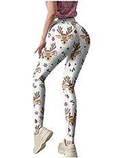 Custom Christmas Print Leggings High Waist Snowflake Elk Running Stretch Yoga Pants Sweatpants for Women Girls