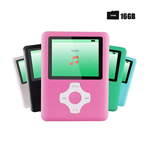 Ultrave MP3/MP4 Player with 16G SD Card, Portable Lossless Sound Player, Rechargeable MP3 Player, Also Support Ebook, Image, 1.8 inches LCD Screen MP3 Music Player – Peachpink