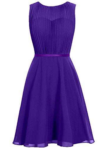 Cdress Dresses Sleeveless Chiffon Bridesmaid Gowns Prom Cowl Party Short Wedding Purple 4f4wS