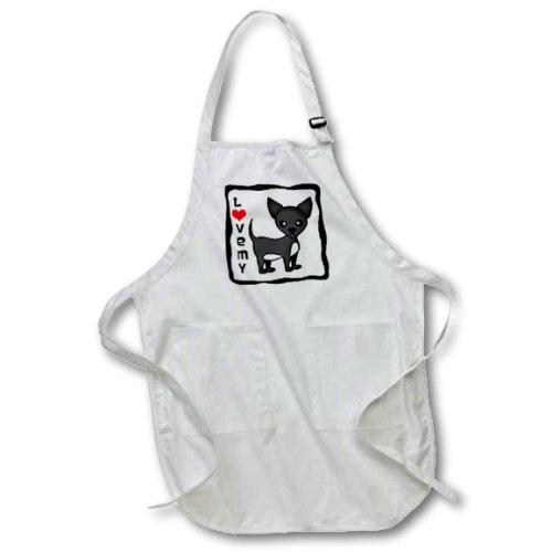 3dRose apr/_12078/_2 I Love My Chihuahua Black 22 by 24-Inch Length Apron with Pouch Pockets Medium