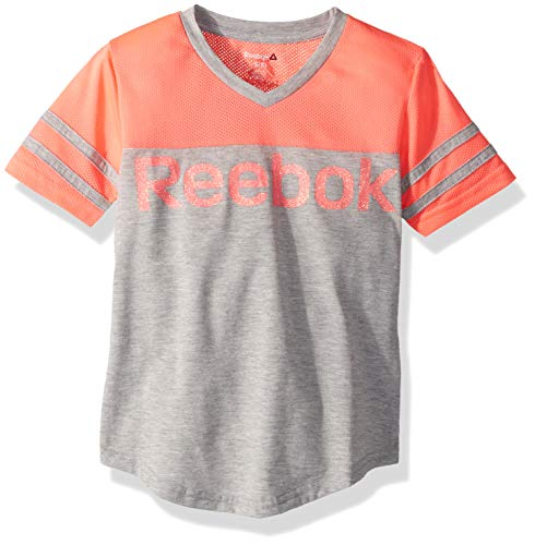 Reebok Girls' Big Mesh Collegiate T-Shirt, Medium Heather Grey, 7