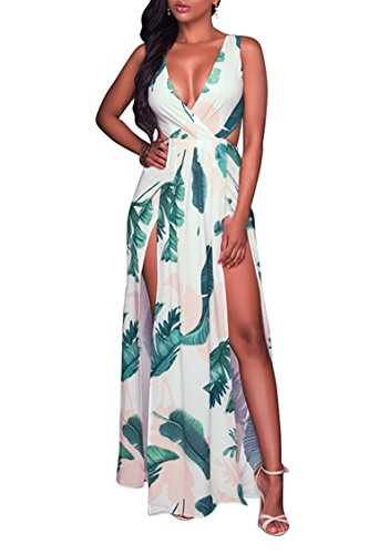 Printed Out Cut (Meenew Women's Tropical Palm Printed Cutout Sundress Long Maxi Dress White S)