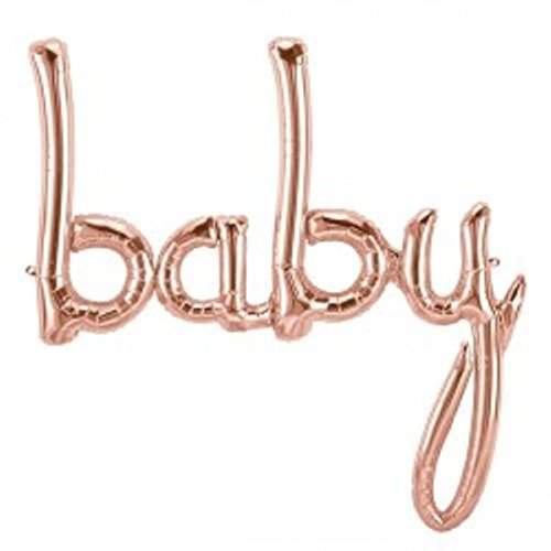 Baby Tones Air - 1 x Baby Script Rose Gold Air Filled Foil Balloon Shape 31