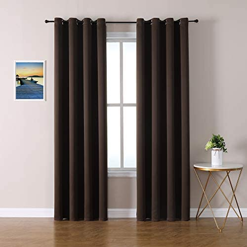 ChrisDowa Grommet Blackout Curtains for Bedroom and Living Room – 2 Panels Set Thermal Insulated Room Darkening Curtains Brown, 52 x 84 Inch